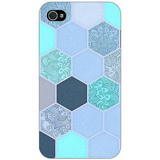Jugaaduu Llight Blue Hexagons Pattern Back Cover Case For Apple iPhone 4 - J10272