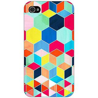 Jugaaduu Multicolour Hexagon Pattern Back Cover Case For Apple iPhone 4 - J10286