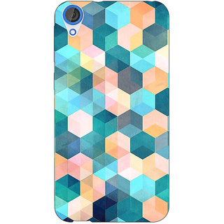 Jugaaduu Blue Hexagon Pattern Back Cover Case For HTC Desire 820 - J280277