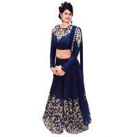 Keshvi Fashions Blue Silk Embroidered Semi Stitched Lehenga