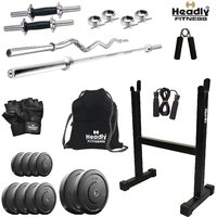 Headly 22Kghome Gym + 14 Dumbbells + 2Rods + Rod Stand + Gym Backpack + Accessories