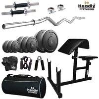 Headly 8 Kg Efficient Home Gym + 3 Feet Curl Rod + 14 Dumbbells + Preacher Curl Bench + Gym Bag + Accessories