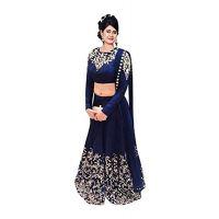 Varanga Blue Zari Embroidery Dupion Silk Lehenge Choli