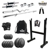 Headly 72Kg Home Gym + 14 Dumbbells + 2 Rods + Rod Stand + Gym Backpack + Accessories