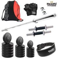 Headly 8 Kg Home Gym + 4 Feet Plain Rod (Shoulder/Bicep) + 14 Dumbbells + Gym Backpack Assorted + Gym Belt + Accessories