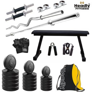 Headly 70 Kg Home Gym + 14 Dumbbells + 2 Rods + Flat Bench+ Gym Backpack Assorted + Accessories