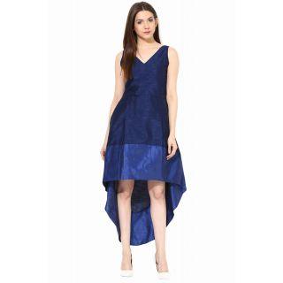 Miss Chase V Neck Sleeveless Blue Plain Asymmetric  Dress