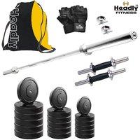 Headly 30 Kg Home Gym & 4 Feet Plain Rod (Shoulder/Bicep) & 14 Dumbbells & Gym Backpack Assorted & Accessories
