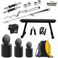 Headly 22 Kg Home Gym + 14 Dumbbells + Flat Bench + 2 Rods + Gym Backpack Assorted + Accessories