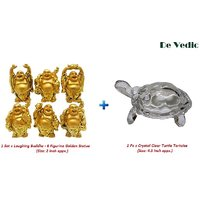 Combo Set Of 6 Figurine Laughing Buddha  Crystal Turtle Tortoise For Feng Shui
