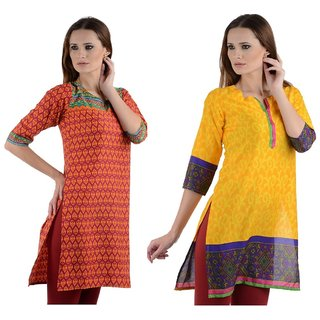 Gift Valley Exclusive Designer Kurti Set of 2 (GVCmb2-KRT6061-Multi-6066-Yllw)