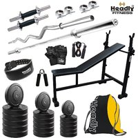 Headly 35 Kg Home Gym + 14 Dumbbells +3 In 1(I/D/F) Bench + 2 Rods + Gym Backpack Assorted + Accessories