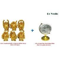 Combo Set Of 6 Figurine Laughing Buddha And Crystal World Glass Globe Feng Shui