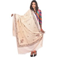Weavers Villa PolyCotton White Printed Shawls WV767-WHITE