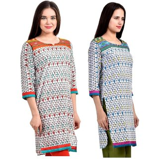 Gift Valley Exclusive Designer Kurti Set of 2 (GVCmb2-KRT6074-Orng-Trq)