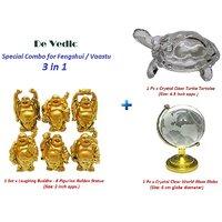 Combo Set Of 6 Figurine Laughing Buddha, Crystal Turtle, World Globe Feng Shui