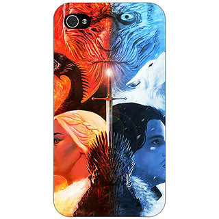Jugaaduu Game Of Thrones GOT Khaleesi Daenerys Targaryen House Stark Jon Snow Back Cover Case For Apple iPhone 4 - J11542