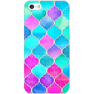 Jugaaduu Pink Blue Moroccan Tiles Pattern Back Cover Case For Apple iPhone 5 - J20294