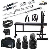 Headly 90Kg Total Fitness Home Gym + 14 Dumbbells + 2 Rods + 3 In 1 (I/D/F) Bench+ Gym Bag +Gym Belt + Accessories