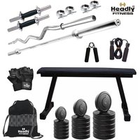 Headly 58Kg Convenient Home Gym + 14 Dumbbells + 2 Rods + Flat Bench+ Gym Backpack + Accessories