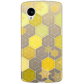 Jugaaduu Yellow Hexagons Pattern Back Cover Case For Google Nexus 5 - J40273
