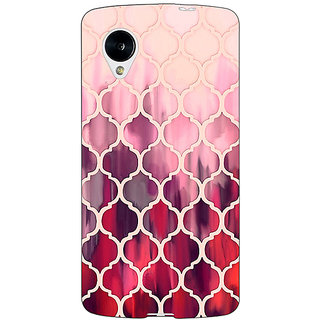 Jugaaduu White Red Moroccan Tiles Pattern Back Cover Case For Google Nexus 5 - J40299