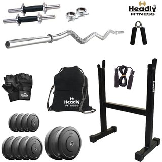 Headly 60Kg Home Gym + 14 Dumbbells + Curl Rod + Rod Stand + Gym Backpack + Accessories