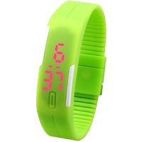 Jelly Slim Men Women Unisex Green LED Digital Casual Bracelet Band Led Watch