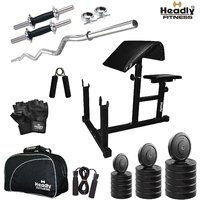 Headly 10 Kg Total Fitness Home Gym + 3 Feet Curl Rod + 14 Dumbbells + Preacher Curl Bench + Gym Bag + Accessories