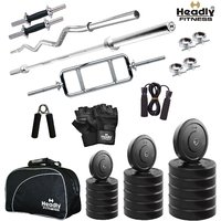 Headly 10 Kg Total Fitness Home Gym + 14 Dumbbells + 3 Rods + Gym Bag + Accessories
