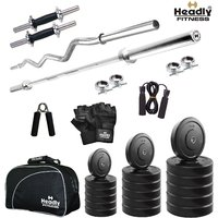 Headly 10 Kg Total Fitness Home Gym + 14 Dumbbells + 2 Rods + Gym Bag + Accessories