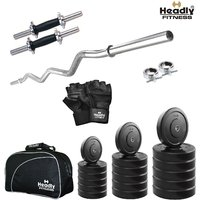 Headly 25Kg Total Fitness Home Gym + 14 Dumbbells + Curl Rod + Gym Bag + Accessories