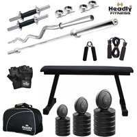 Headly 50Kg Total Fitness Home Gym + 14 Dumbbells + 2 Rods + Flat Bench+ Gym Bag + Accessories