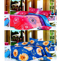Handloomdaddy 2 Double Printed Bed Sheet With 4 Pillow Cover Set