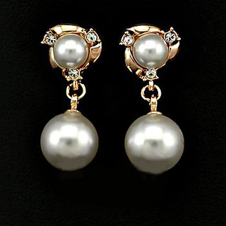New Arrival Fashion 18k Rose Gold Plated Beautiful Twin Pearl Drop Earrings