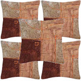 Krayon Vine Arts Digital Print Cushion Cover Set Of 5 Brown Abstract