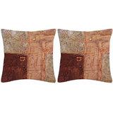 Krayon Vine Arts Digital Print Cushion Cover Pair Of Brown Abstract