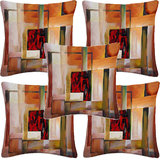 Krayon Vine Arts Digital Print Cushion Cover Set Of 5 Orange Abstract