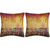 Krayon Vine Arts Digital Print Cushion Cover Pair Of Yellow Om Bray Taxture