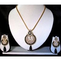 Black drop long chain pendant necklace set