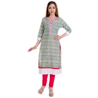 halowishes Sanganeri Abstract pattern designer pure cotton kurti - 127