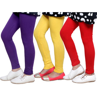 Indiweaves Kids Super Soft Cotton Leggings Combo 3-(714020704-IW-K)