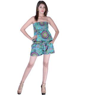 Cotton Printed C.Green Color Short Jumpsuit