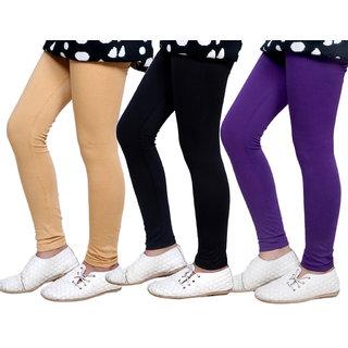 Indiweaves Girls Super Soft Cotton Leggings Combo 3-(714010502-IW)