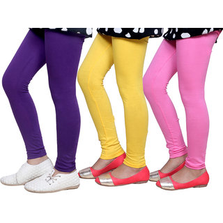 Indiweaves Girls Super Soft Cotton Leggings Combo 3-(714020708-IW)