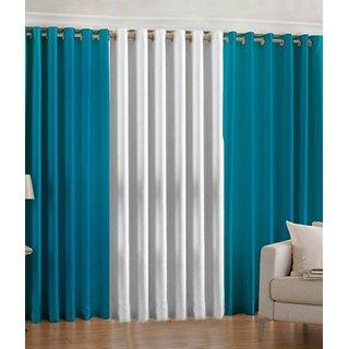 Iliv Plain Eyelet Curtain 5 feet ( Set Of 3 ) Aqua White