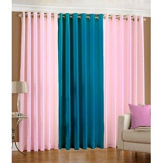 Iliv Plain Eyelet Curtain 5 feet ( Set Of 3 ) Babypink Aqua