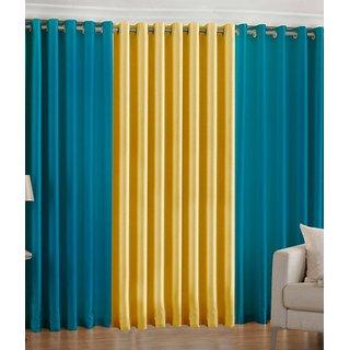 Iliv Plain Eyelet Curtain 5 feet ( Set Of 3 ) Aqua Yellow