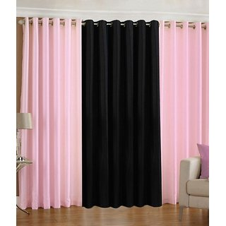 Iliv Plain Eyelet Curtain 5 feet ( Set Of 3 ) Babypink Black