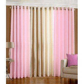 Iliv Plain Eyelet Curtain 5 feet ( Set Of 3 ) Babypink Cream
